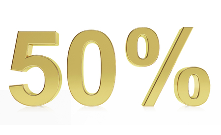 deduction: Very high quality rendering of a symbol for 50 % discount or gain with a subtle reflection.