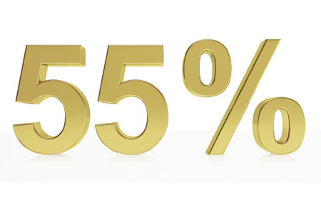 d offer: Very high quality rendering of a symbol for 55 % discount or gain with a subtle reflection.