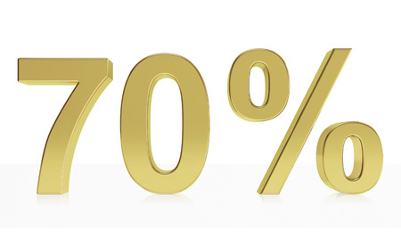 70: Very high quality rendering of a symbol for 70 % discount or gain with a subtle reflection Stock Photo