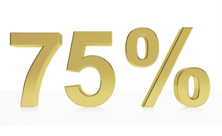 deduction: Very high quality rendering of a symbol for 75 % discount or gain with a subtle reflection