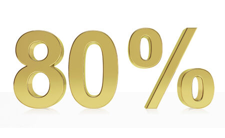 80: Very high quality rendering of a symbol for 80 % discount or gain with a subtle reflection. Stock Photo