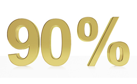 d offer: Very high quality rendering of a symbol for 90 % discount or gain with a subtle reflection.