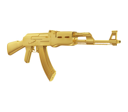 A realistic rendering of a golden machine gun   isolated on white