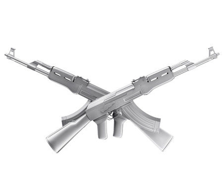 A realistic rendering of two silver crossed machine guns  isolated on white .The rendering has even tiny scratches. photo