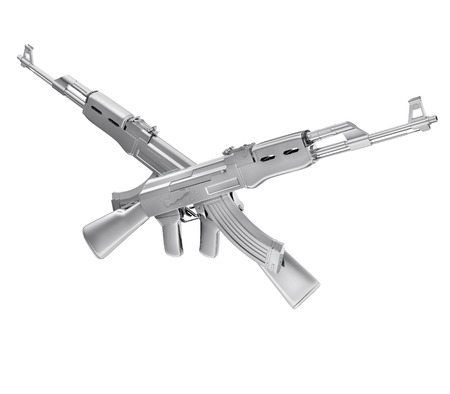 iron defense: A realistic rendering of two silver crossed machine guns  isolated on white