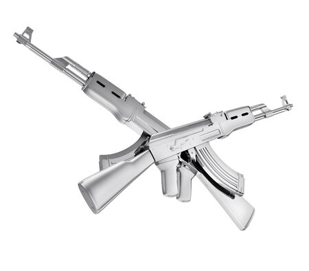 A realistic rendering of two silver crossed machine guns isolated on white