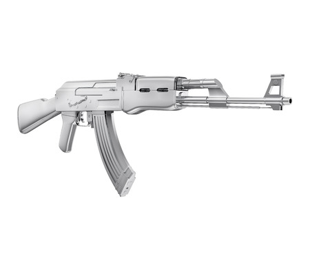 A realistic rendering of a machine gun isolated on white