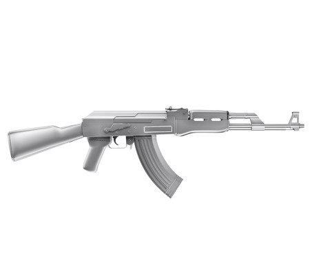 A realistic rendering of a machine gun isolated on white .The rendering has even tiny scratches. photo