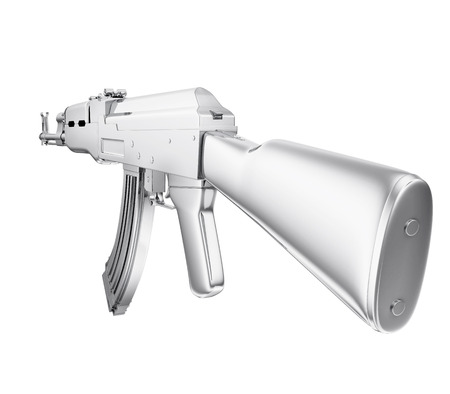 A realistic rendering of a silver machine gun  isolated on white