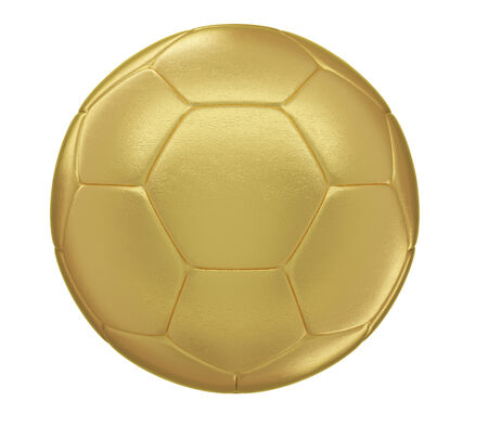 A photorealistic golden soccer ball isolated on white  photo