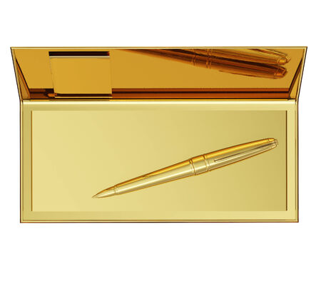 photo realistic: A photo realistic golden checkbook and a pen inside isolated on white