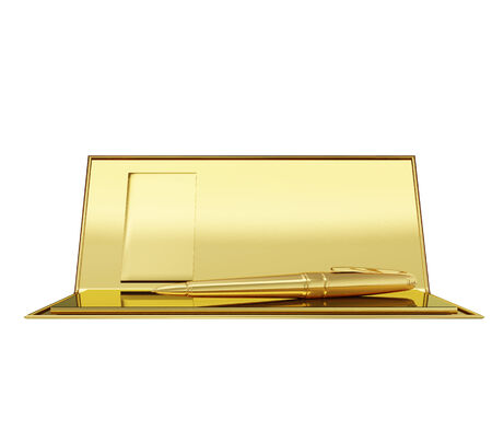 checkbook: A photo realistic golden checkbook and a pen inside isolated on white