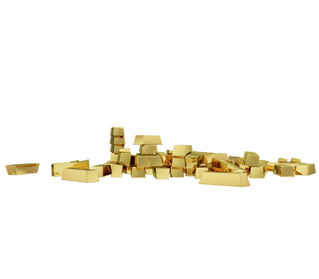 successfully: Some realistic golden buillons isolated on white