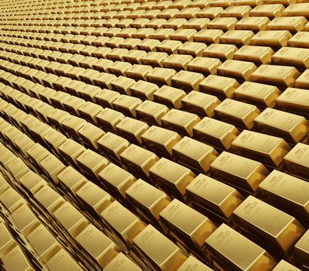 カラットの金バーのフィールドの現実的なレンダリング スタック 写真素材