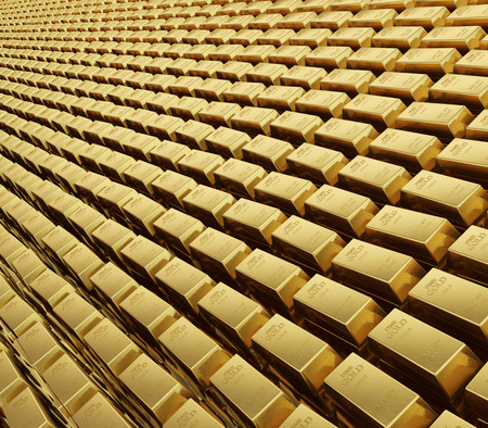 A realistic rendering of a field of stacked of karat gold bars Reklamní fotografie