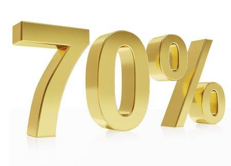 per cent: Very high quality rendering of a symbol for 70 % discount with a subtle reflection Stock Photo