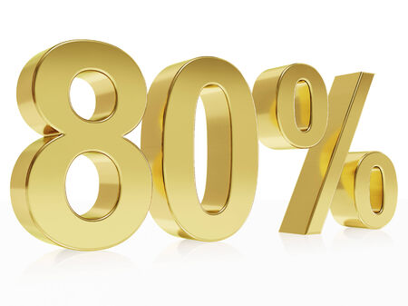 Very high quality rendering of a symbol for 80 % discount with a subtle reflection photo