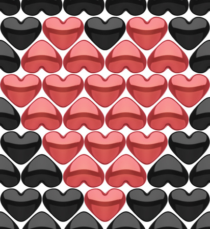 A realistic rendering of several lines of black hearts and red ones forming a bigger one isolated on white photo