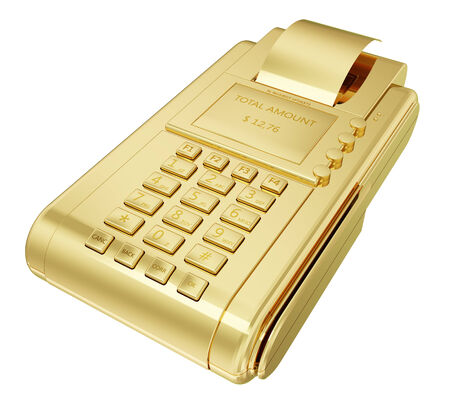 successfully: Arealistic golden payment machine isolated on white