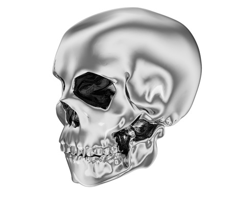 successfully: A realistic silver human skull isolated on white  Stock Photo