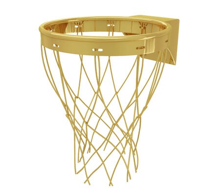 A realistic golden basketball hoop isolated on white  photo