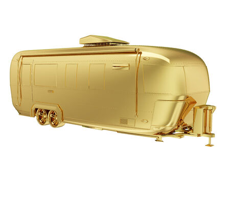 photo realistic: A photo realistic golden camper isolated on white