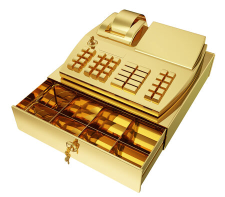 photo realistic: A photo realistic golden cash register isolated on white