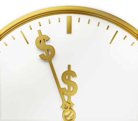 industrious: A realistic golden rendering of a clock with dollars as hands isolated on white.