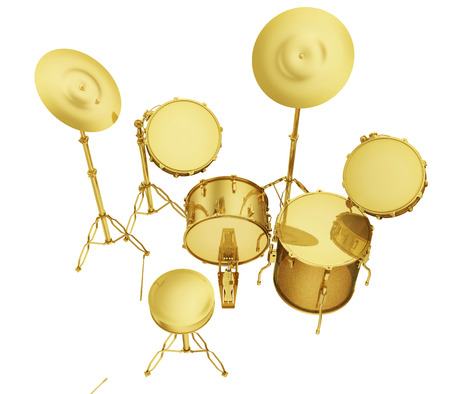 successfully: A realistic golden drum set isolated on white (series).The rendering has even tiny scratches.