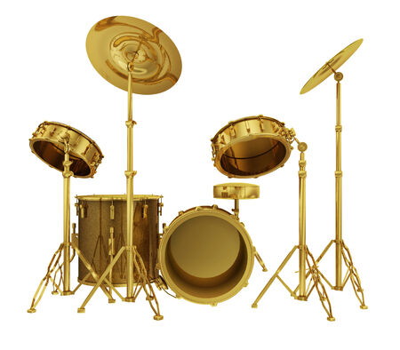 successfully: A realistic golden drum set isolated on white  Stock Photo