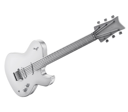 successfully: A realistic silver electric guitar isolated on white