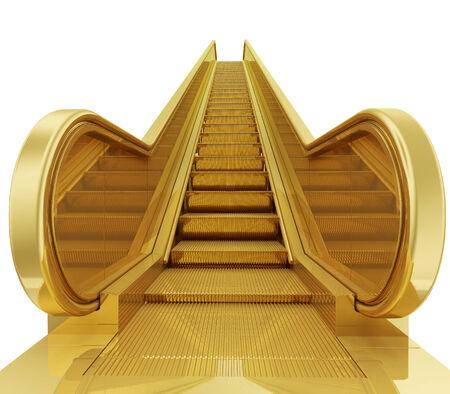 photo realistic: A photo realistic golden escalator isolated on white Stock Photo