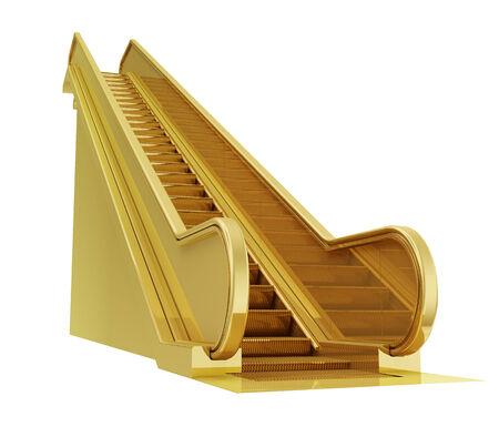 photo realistic: A photo realistic golden escalator isolated on white