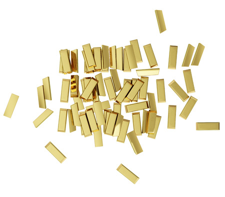 jumbled: Some realistic golden buillons isolated on white