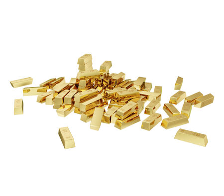 Some realistic golden buillons isolated on white