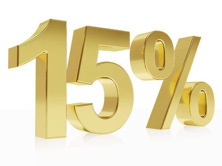 per cent: Very high quality rendering of a symbol for 15 % discount with a subtle reflection