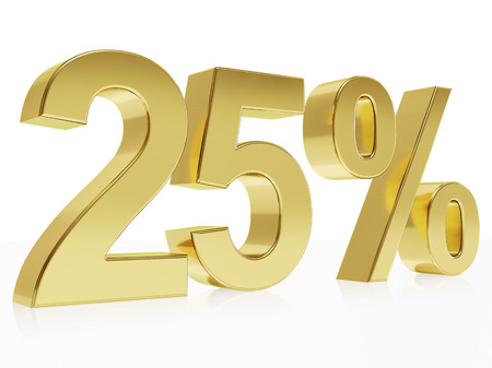 Very high quality rendering of a symbol for 25 % discount with a subtle reflection