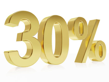 the 30: Very high quality rendering of a symbol for 30 % discount with a subtle reflection