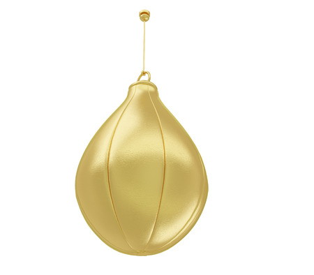 below: A realistic golden punching ball isolated on white