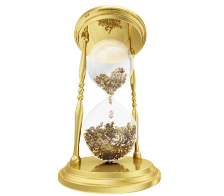 industrious: A photo realistic golden rendering of an hourglass filled with dollars instead of sand isolated on white