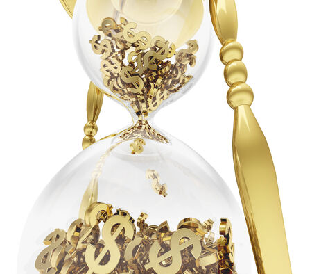 A photo realistic close up rendering of a golden hourglass filled with dollars instead of sand isolated on white