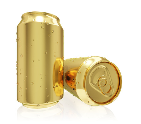 Two photo realistic golden tin cans isolated on white  photo