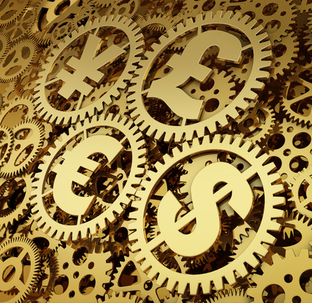 A realistic golden rendering of a clockwork with currencys as gears isolated on white. Time is money (series)