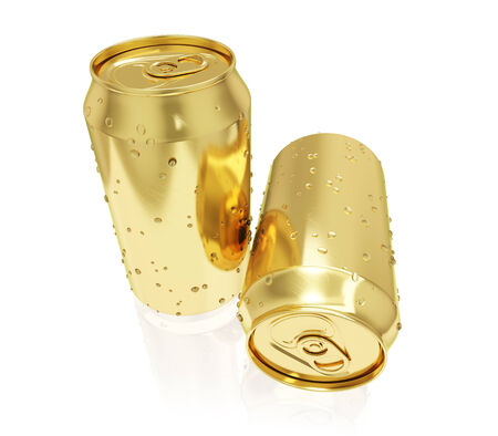 successfully: Two photo realistic golden tin cans isolated on white Stock Photo
