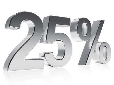 High quality rendering of a silver symbol for 25% discount or gain with a subtle reflection photo