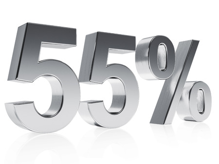 High quality rendering of a silver symbol for 55% discount or gain with a subtle reflection photo