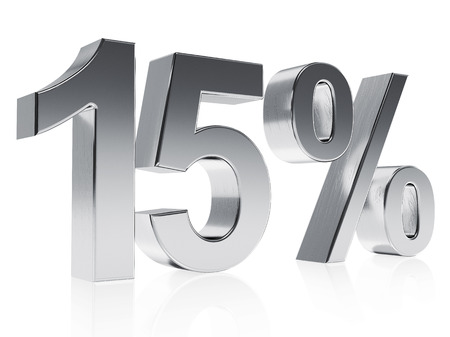 half cent: High quality rendering of a silver symbol for 15% discount or gain with a subtle reflection Stock Photo