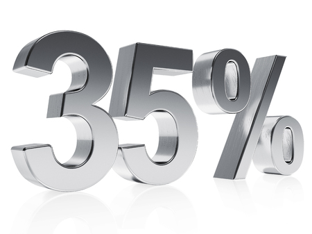 half cent: High quality rendering of a silver symbol for 35% discount or gain with a subtle reflection