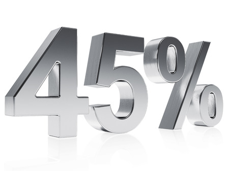 half cent: High quality rendering of a silver symbol for 45% discount or gain with a subtle reflection Stock Photo