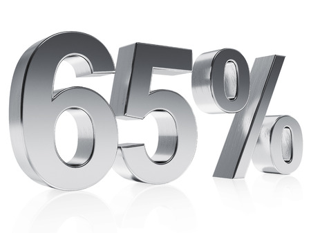 High quality rendering of a silver symbol for 65% discount or gain with a subtle reflection